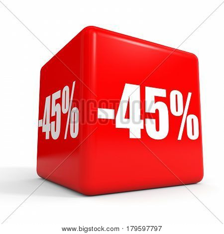 Forty Five Percent Off. Discount 45 %. Red Cube.