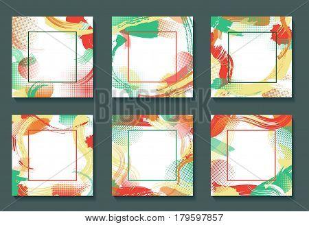 Frame set with vector color patterns, modern graphic design elements, grunge textures or geometric background for brochure, bisness card, poster