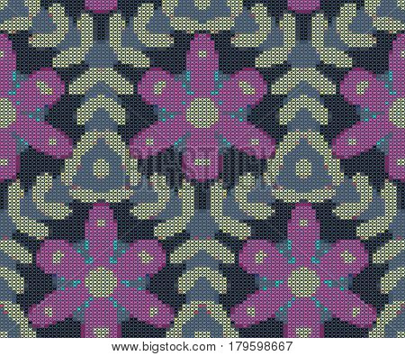 Seamless pattern - decorative floral embroidery. Cross-stitch. Vector illustration