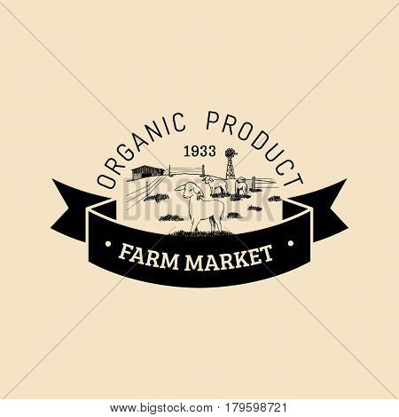Vector retro family farm logotype. Organic premium quality products badge. Eco food sign. Vintage hand sketched rural landscape illustration.