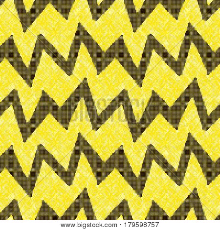 Seamless pattern - decorative embroidery with geometrical drawing. Black zigzags on a yellow background. Cross-stitch. Vector.