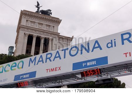 Rome Italy - April 2 2017: Via dei Fori Imperiali on the finish line of the 23 ^ Marathons in Rome