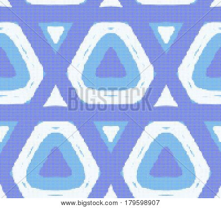 Seamless pattern - blue decorative embroidery with geometrical drawing. Cross-stitch. Vector.