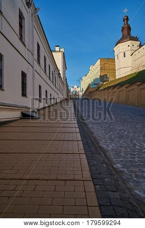 The Main Gate and the road to the Lower Lavra. The Kiev Pechersk Lavra of the Orthodox Church in the early morning