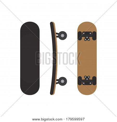 Skateboard image on three sides. Top view from the bottom and side of the skateboard. Vector illustration.