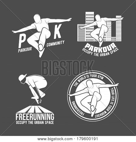 Set of Parkour icons, badges, logo, design elements. Free running, youth, sport and lifestyle concept
