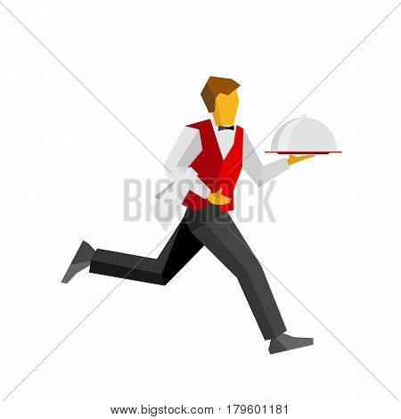 Waiter in red vest and black trousers running with lunch on platter. Fast catering concept  for restaurant or cafe banner. Simple vector person isolated on white background.