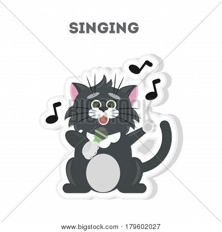Isolated singing cat sticker on white background.