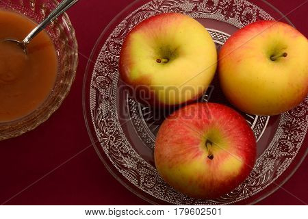 High angle view of a closeup of apples and apple compote