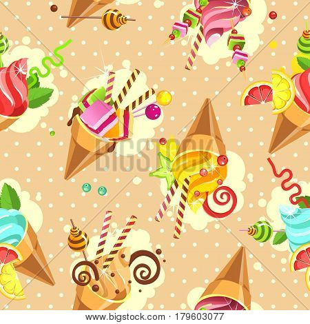 Seamless pattern ice cream cones of whipped cream of different color and taste pieces of marshmallows filled with sweets marshmallows straws on a beige background with dots