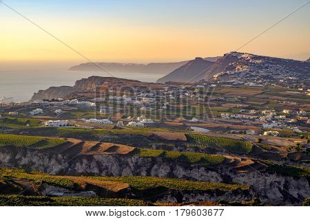 Landscape View Of Fields, Vineyards And Greek Villages On Santorini