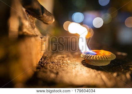 Beautiful oil candle close-up during Loy Krathong celebration in Thailand