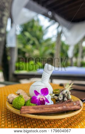Natural Spa Ingredients herbal compress ball and herbal Ingredients for alternative medicine and relaxation. Thai Spa massage.
