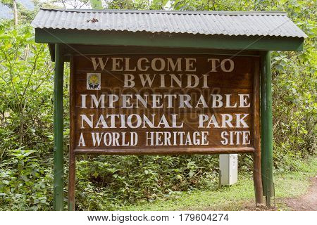 Bwindi Impenetrable Forest National Park Uganda - February 27 2017 : Entrance sign Bwindi Impenetrable Forest National Park Uganda