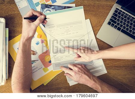 Man Filling Application Form Documents Information