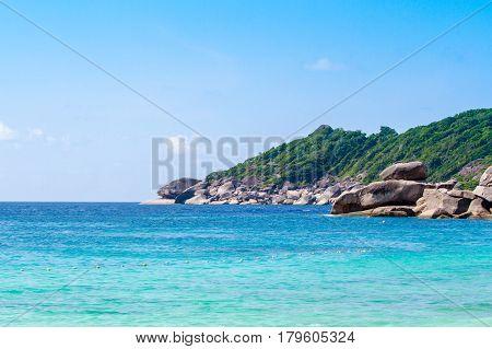 Thailand. Beautiful crystal clear sea at tropical island Similan island Andaman sea.