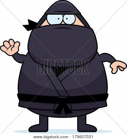 Waving Cartoon Ninja