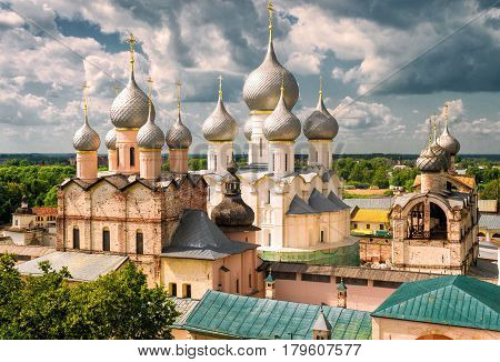 Assumption Cathedral and church of the Resurrection in Rostov Kremlin. Russia. Included in World Heritage list of UNESCO.