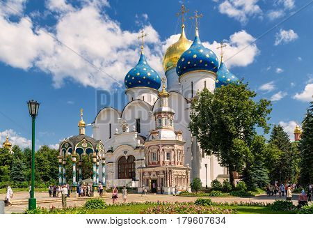 SERGIYEV POSAD, RUSSIA - JUNE 28, 2011: Assumption Cathedral in Trinity Sergius Lavra near Moscow. The Trinity Lavra is one of the greatest of Russian monasteries.