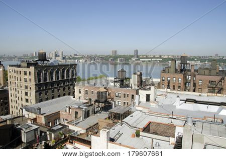 Roofs and terraces in New York City along the Hudson River