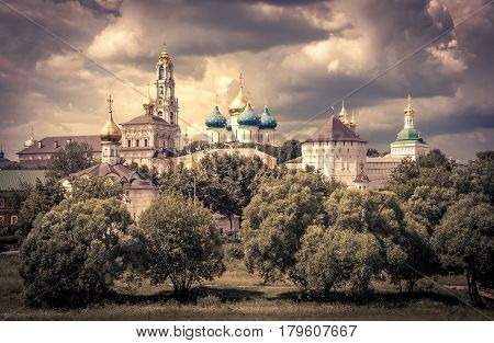 The famous Trinity monastery (Trinity Lavra of St Sergius) in Sergiyev Posad near Moscow (Golden Ring of Russia)