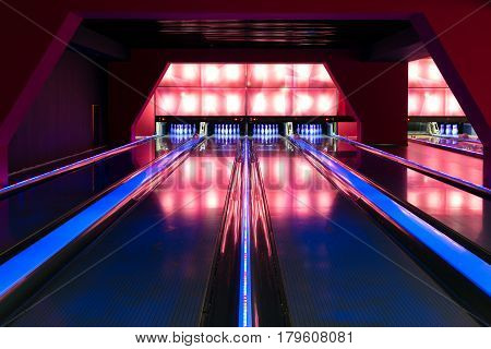 A beautiful modern luxury bowling with lighting tracks