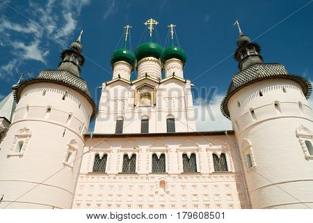 Rostov Kremlin, Russia. The ancient town of Rostov the Great is a tourist center of the Golden Ring of Russia.