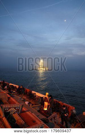 Maidens Tower In Bosphorus Strait, Istanbul