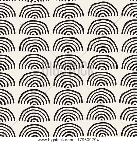 Monochrome minimalistic seamless pattern with stripe arcs. Simple hand drawn texture. Vector background with rounded inky lines
