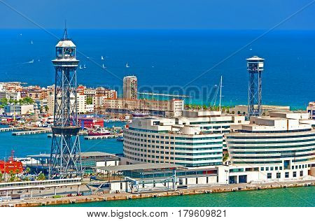 Barcelona, Spain - August 7, 2014: Seaport as seen from Montjuic fortress in Barcelona, Catalonia