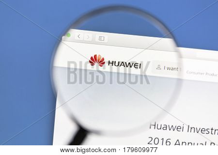 Ostersund, Sweden - Mars 31, 2017: Huawei website under a magnifying glass Huawei is a Chinese multinational networking and services company.