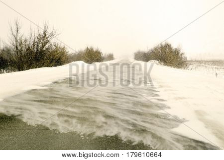 Snowstorm on a winter road in the field