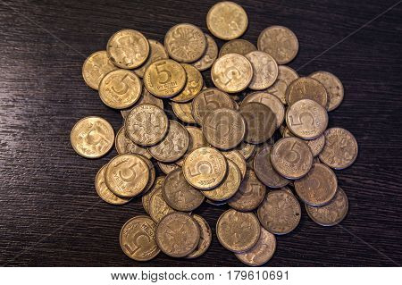 A big pile of Russian rubles coins