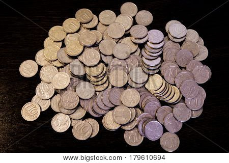 A Pile Of Russian Rubles Coins