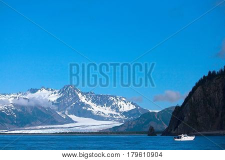 Boat Near Bear Glacier In Kenai Fjords Alaska