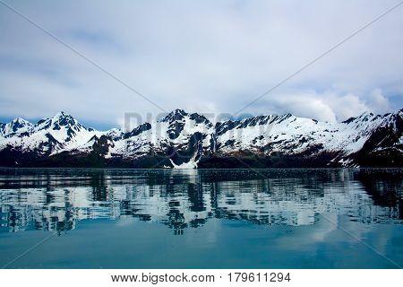 Mountains Reflecting On Water Seward Alaska