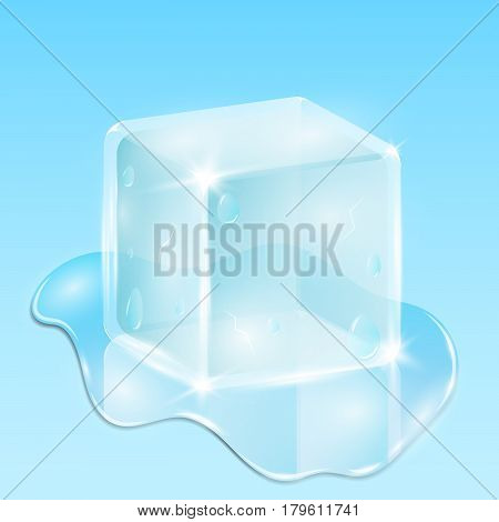 Melting ice cube on a light blue background. A drop of water is flowing. Bright glow and reflection. Ecological illustration