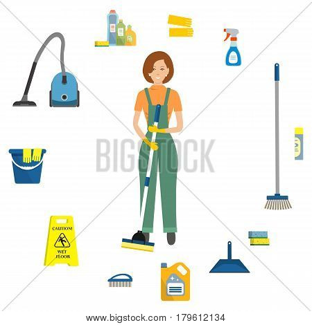 Cleaning lady surrounded by objects for cleaning. There is a vacuum cleaner, a mop, a brush, a scoop, a sign