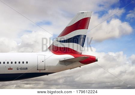 Manchester Airport, United Kingdom - April 30, 2016: British Airways Airbus A320-232 G-EUUR cn 2040 moments after arrival.