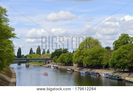 Boats on the river Ouse in the City of York