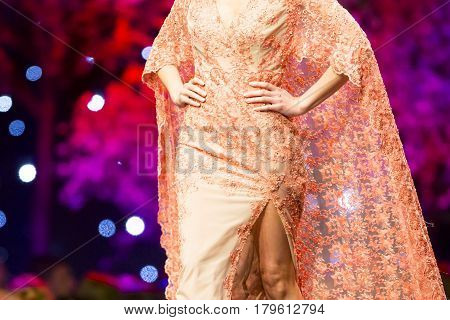 Fashion Show Runway Beautiful Orange Dress