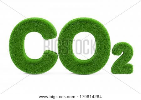 CO2 from grass inscription 3D rendering isolated on white background