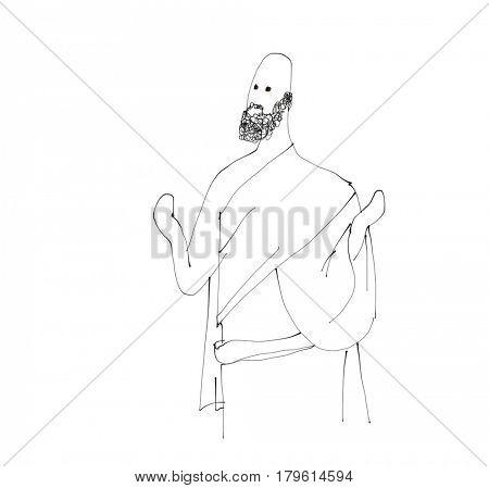 Islam Pilgrim Hajj activity in Mecca. In watercolor illustration