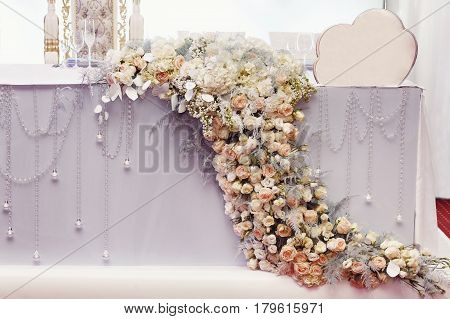 Luxury Decorated Table Flowers Of Hydrangea And Roses At Rich Wedding Reception. Golden Stylish Arra