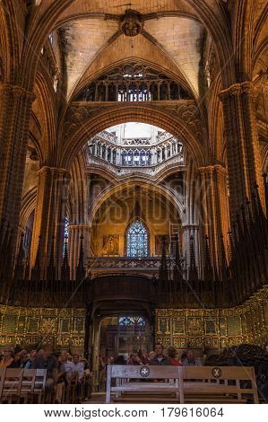 BARCELONA SPAIN - OCTOBER 23 2015: The interior of Cathedral of the Holy Cross and Saint Eulalia also known as Barcelona Cathedral in gothic quarter of Barcelona Spain