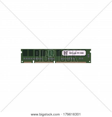 RAM 168 pin PC 100 on the white background. Vector illustration
