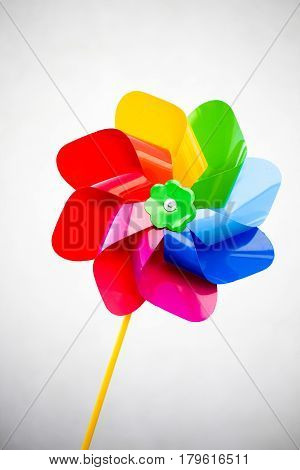 Colorful Red Blue Green Yellow Purple Pinwheel On White Background