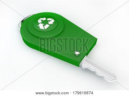 3d redner of a green car eco key