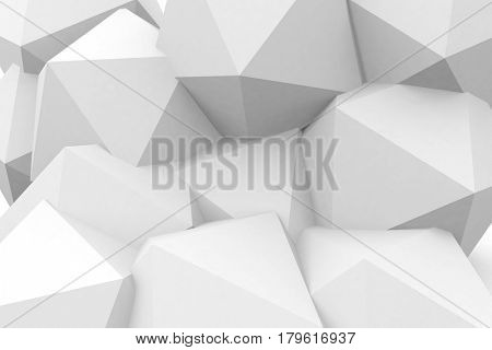ploygons 3d rendered in white to create an abstract background