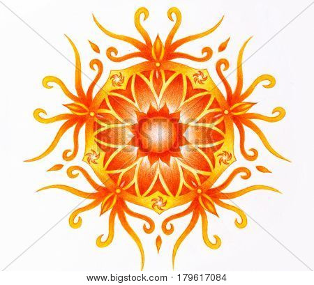 color ornamental mandala on white paper background. Sacral Chakra